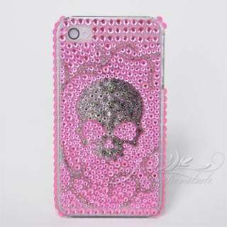 Skull bone design with pink background bling case for Iphone4G 4S US