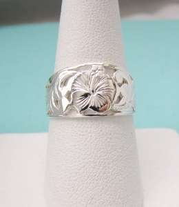 Sterling Silver Hawaiian Hibiscus Flower Ring Size 8.5