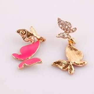 Hot Pink Enamel Butterfly Crystal Dangle Gold Plated Charm Earrings
