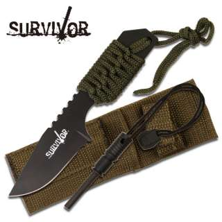 TANG SURVIVAL FIRE STARTER HUNTING CAMPING KNIFE W/ FLINT #106321G