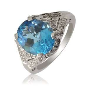 Natural White Round Diamond (SI Clarity, GH Color) and Blue Topaz