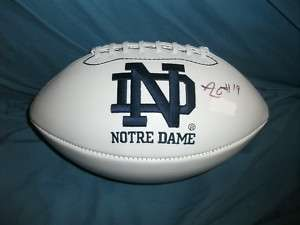 Notre Dame Irish AARON LYNCH Signed Football PROOF