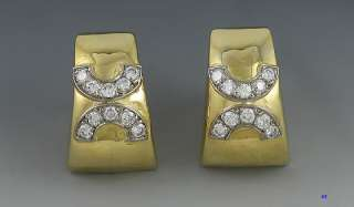 ITALIAN 18K GOLD BRILLIANT DIAMOND CLIP EARRINGS MODERN
