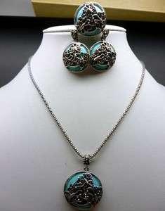 Turquoise Earring Ring Pendant Necklace Set Fashion Jewellery