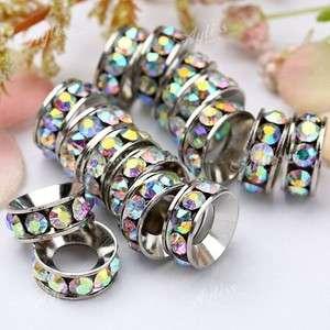 Clear Crystal Rhinestone Large Hole European Beads Fit Bracelet