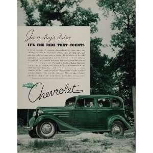 1934 Vintage Ad Green Chevrolet Chevy Car Automobile   Original Print