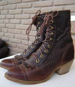 Womens Cowboy Boots Lace Up Old Fashioned Style. EXCLNT cond Size 6.5