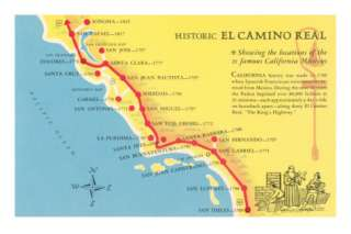 Map of the Camino Real, California Missions Posters at AllPosters
