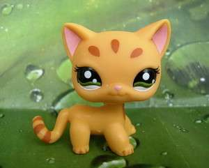 LITTLEST PET SHOP Yellow Tiger Cat Green Eyes #1377