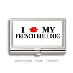 French Bulldog Love My Dog Paw Business Card Holder Case