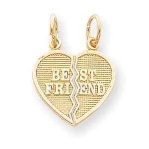 Designer Jewelry Gift 10K 2 Piece Break Apart Best Friend Heart Charm