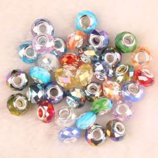 Mix AB Crystal Glass Faceted Bead For Charm Bracelet 50PCS