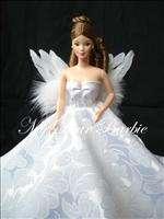 W15 Wedding/Princess Angel Gown for Barbie Dolls,White