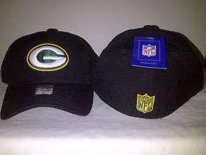 REEBOK Green Bay Packers Black Cap Hat Fitted NFL RBK Bent Bill Logo