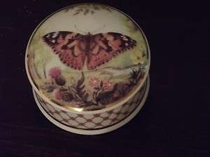 Falcon China Staffordshire England, Butterfly Jewelry Trinket Box