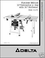 Delta 10 Table Saw Instruction Manual Model 36 475
