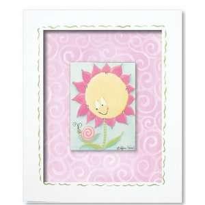 sunny flower wall art   pink swirl