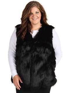 DKNYC Plus Size Plus Size Black Faux Fur Vest SKU #7842499