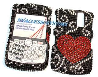 BlackBerry Curve 8330 Red Hearts Rhinestones Crystal Bling Phone Case