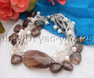 WOW Natural White Pearl&Smoky Quartz Bracelet