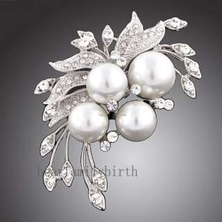 18k GOLD GP Swarovski crystal pearl rose brooch pin 116