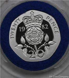 1982 PIEDFORT 20P TWENTY PENCE SILVER PROOF COIN COA