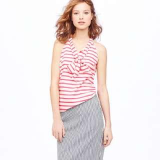 Silk bow cami in stripe   sleeveless   Women   J.Crew
