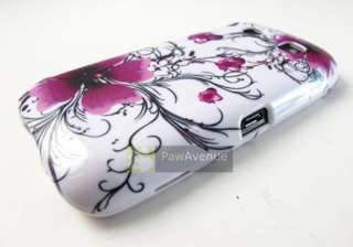 WHITE PURPLE FLOWERS Hard Case Cover Blackberry Torch 9850 9860 Phone