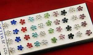 Silver Flowers Rhinestone Pierced Stud ear Earrings 40PCS Mixed Colors