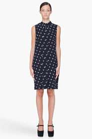 CHLOE Black Silk Pea Print Dress
