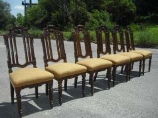 NICE CARVED OAK HUNT ITALIAN ANTIQUE DINING ROOM CHAIRS 11IT081C