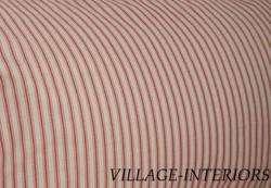 RED & IVORY WHITE TICKING STRIPE FULL 18 DROP BEDSKIRT DUST RUFFLE