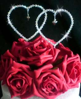 Crystal Love Heart Rose wedding table centrepiece