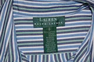 RALPH LAUREN BLUE WHITE GREEN COTTON SHIRT WOMENS 8