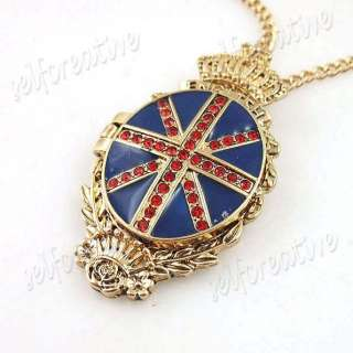 Crown Union Jack Flag Locket Necklace British Red Stones Enamel