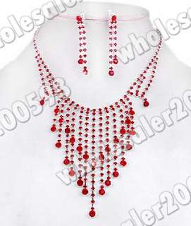 Red Rhinestone Crystal Fringe Necklace+Earrring Set W16028