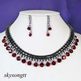 Ruby Red Rhinestone Crystal Bridal Dangler Necklace Earrings Set P024R