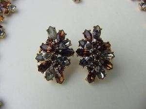 VTG TRIFARI RHINESTONE EARRINGS~BLACK DIAMOND~COGNAC