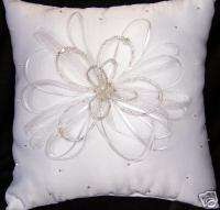 WHITE CRYSTAL BEADED FLOWER RING BEARER PILLOW WEDDINGS