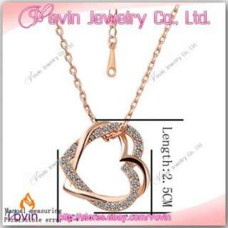 18K Rose Gold Swarovski Crystal GP Double Heart Necklace N007