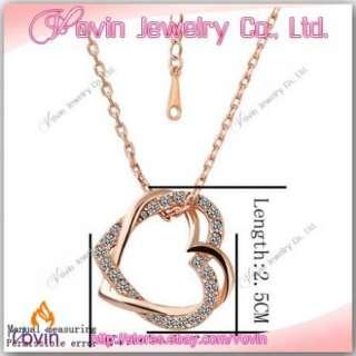18K Rose Gold Swarovski Crystal GP Double Heart Necklace N007