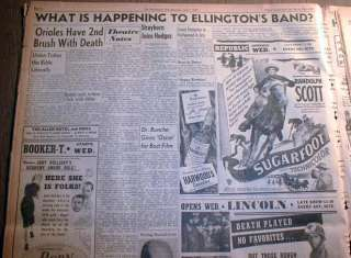 African American newspaper w DUKE ELLINGTON JAZZ BAND banner headline