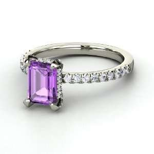 Reese Ring, Emerald Cut Amethyst Platinum Ring with White