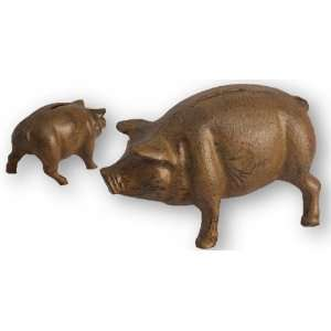 Cast Iron Rustic Piggy Bank Figurine