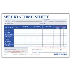 Weekly Time Sheet 50 Sheets Per Pad Min Quantity of 10