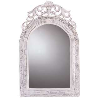 SHABBY CHIC WALL MIRROR Antique White Victorian Style Home Bath Decor