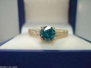 14K YG BLUE & WHITE DIAMOND ENGAGEMENT RING SI2 0.90ct
