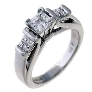 The Jewelers Collection Ladies 14K White Gold 0.70 CTW Princess Cut