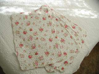 Set of 4 Elizabeth Shabby Pink Cottage Chic Roses Quilted Placemats