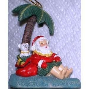 Hawaiian 3D Christmas Ornament Santa Rests Kitchen
